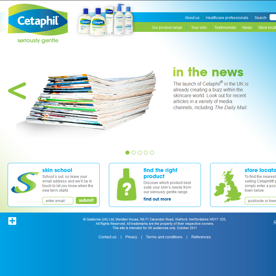Cetaphil Home page
